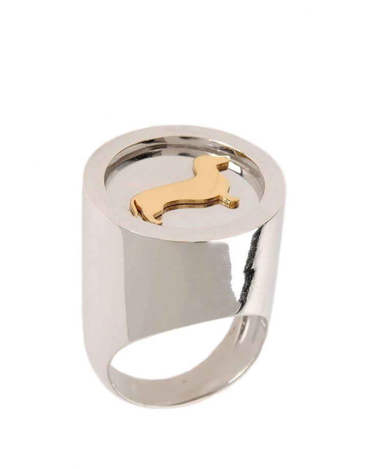 loroetu, big silver chevalier ring, anello bassotto