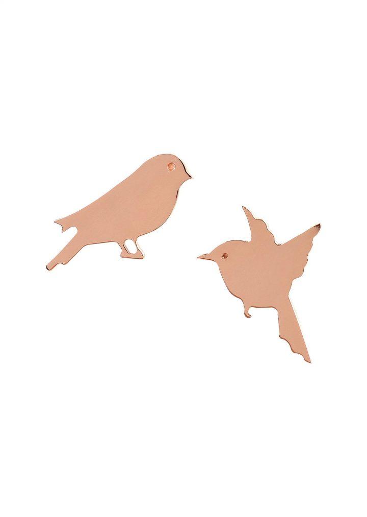 Loroetu Freedom birds earrings rose gold plated silver