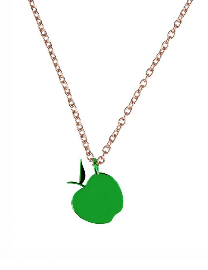 loroetu, collana con mela verde, green apple necklace