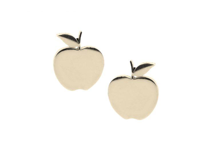 loroetu, orecchini lobo mele oro, lobe gold apple earrings