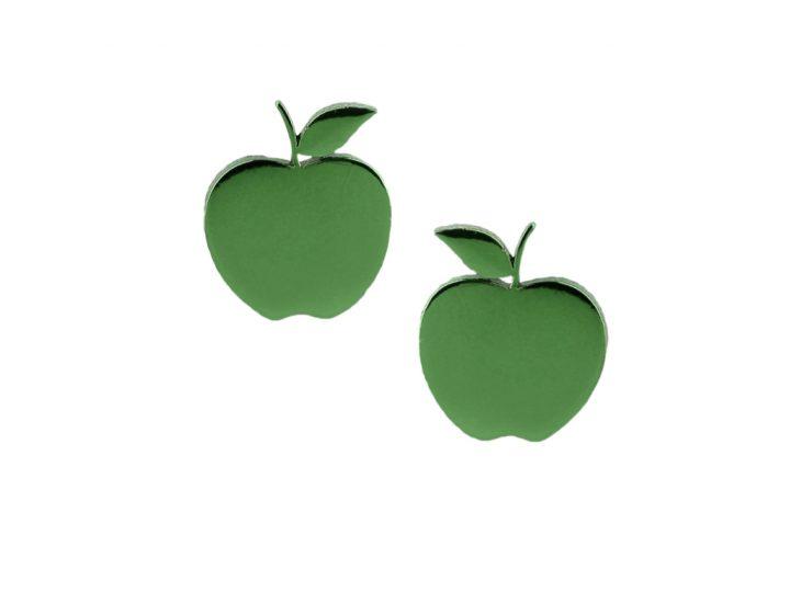 loroetu, orecchini lobo mele verde scuro, lobe dark green apple earrings