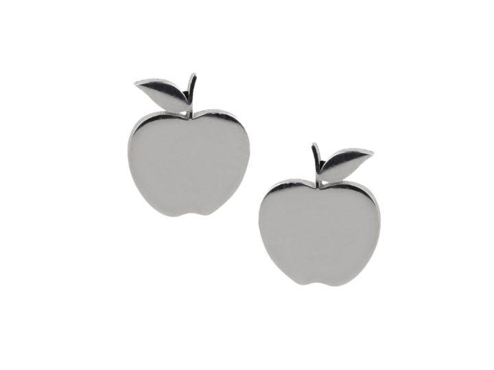loroetu, orecchini lobo mele argento, lobe silver apple earrings