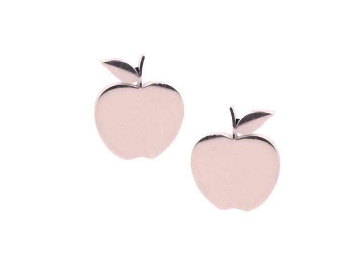 loroetu, orecchini lobo mele oro rosa, lobe rose gold apple earrings
