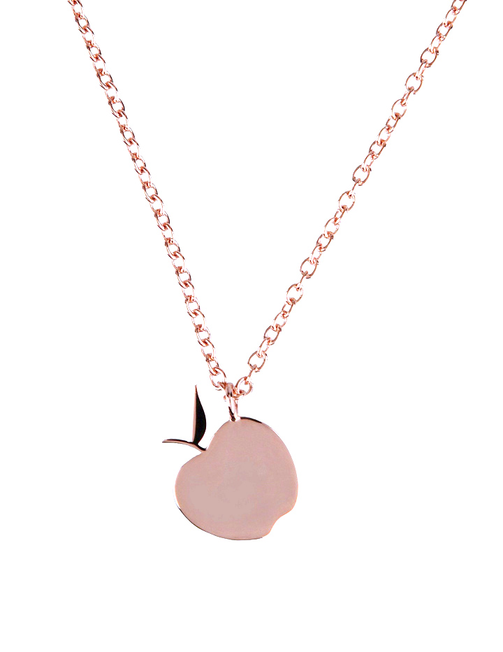loroetu, collana oro rose ciondolo mela, rose gold necklace apple pendant