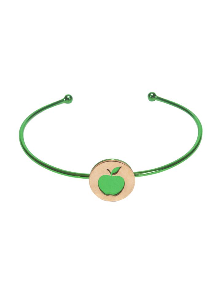 loroetu, bracciale rigido con mela verde e oro, green and gold bangle with apple