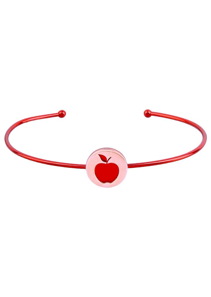 loroetu, bracciale rigido con mela rossa, bangle with red apple