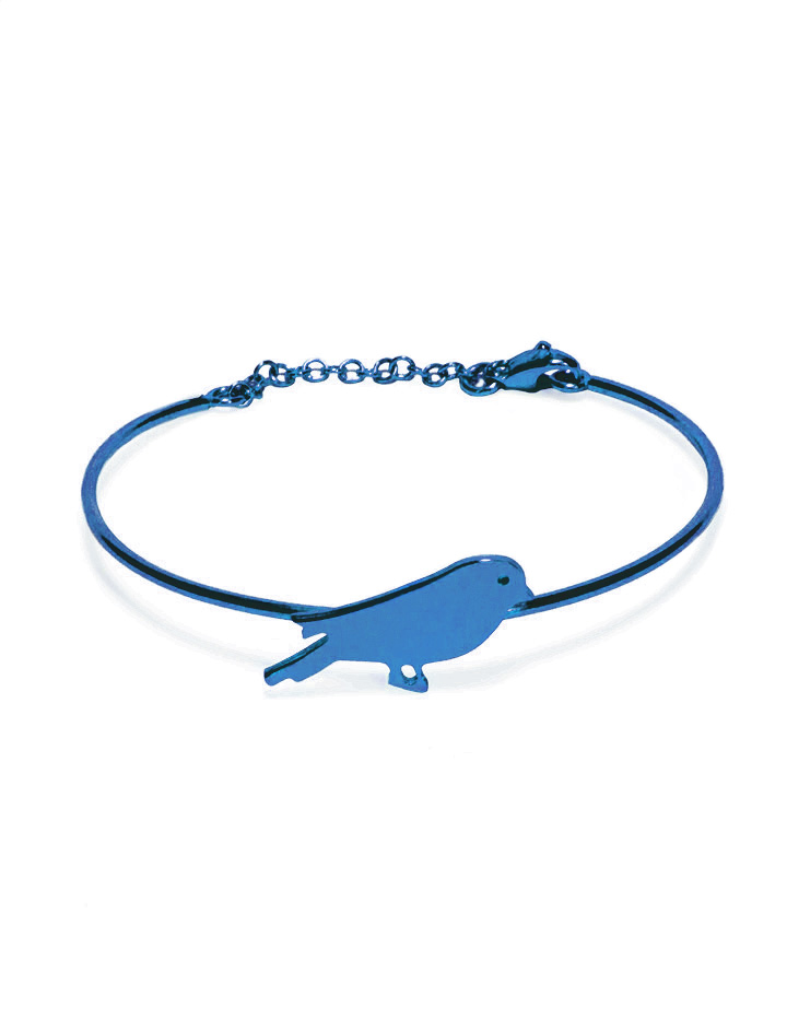 loroetu, bracciale rigido blu con uccellino, blue bangle with bird