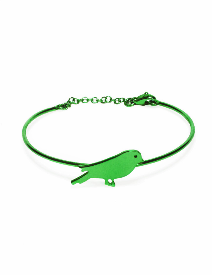 loroetu, bracciale rigido verde con uccellino, green bangle with bird