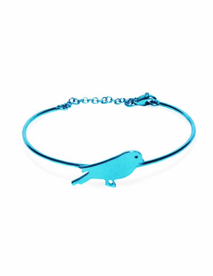 loroetu, bracciale rigido turchese con uccellino, turquoise bangle with bird