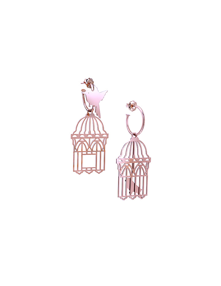 loroetu, orecchini con gabbia aperta e uccellino libero in oro rosa, rose gold earrings with open cage and free bird