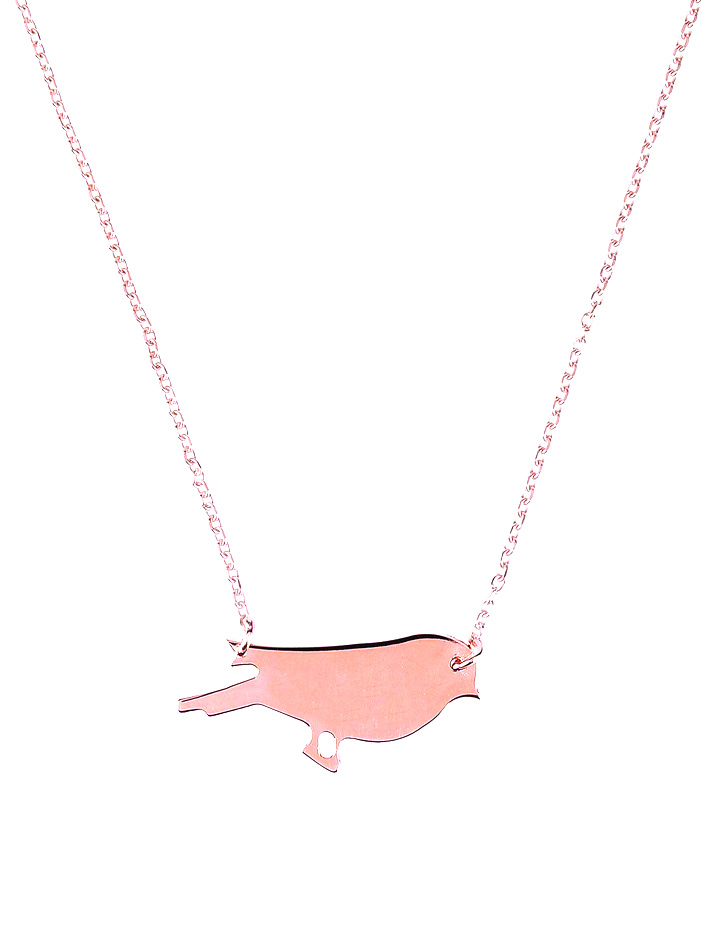 loroetu, collana oro rosa con uccellino, rose gold necklace with bird