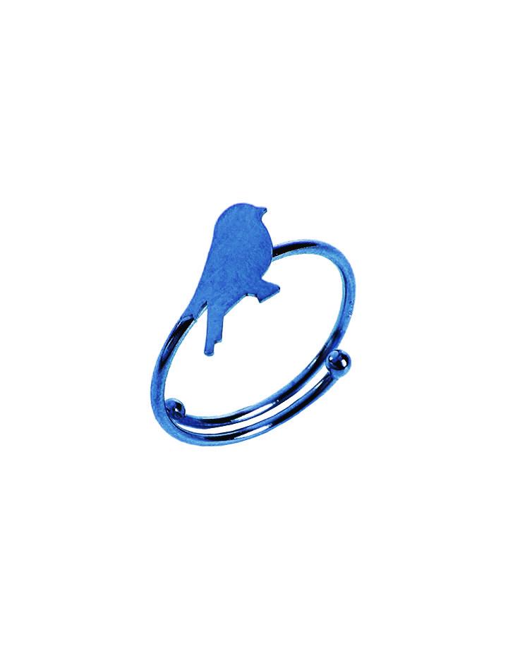 loroetu, anello blu con uccellino, blue ring with bird