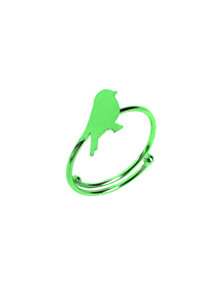 loroetu, anello verde con uccellino, green ring with bird