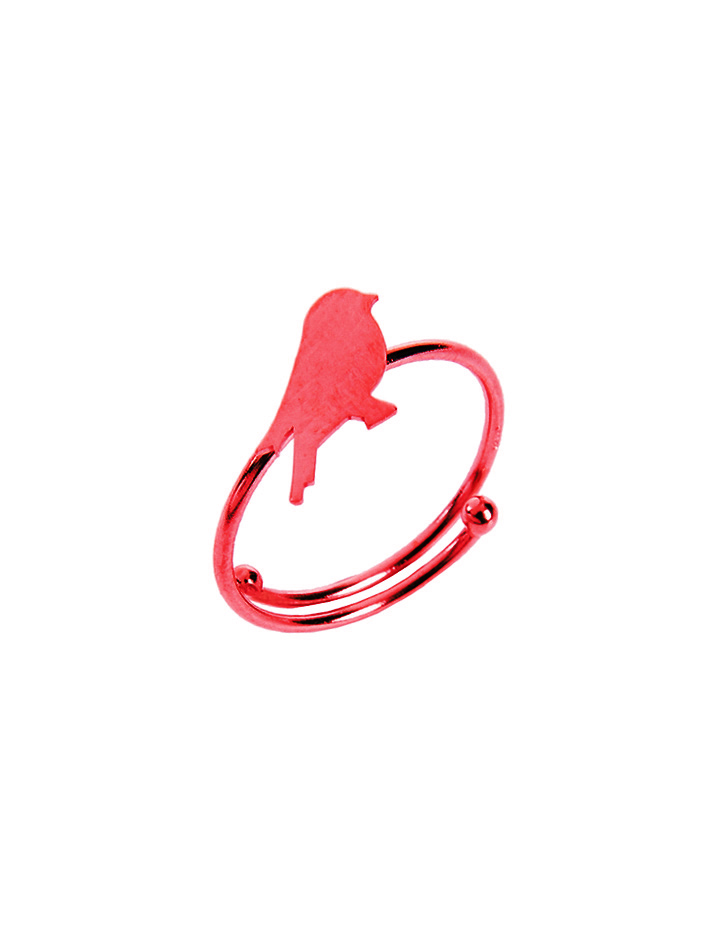 loroetu, anello rosso con uccellino, red ring with bird