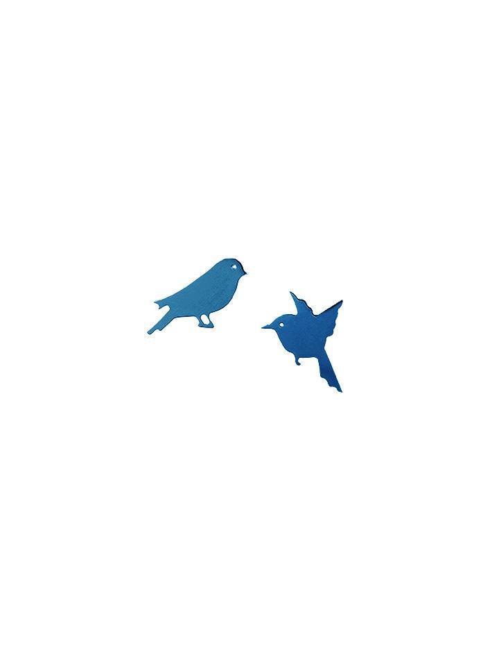 loroetu, orecchini blu con uccellini, blue earrings with birds