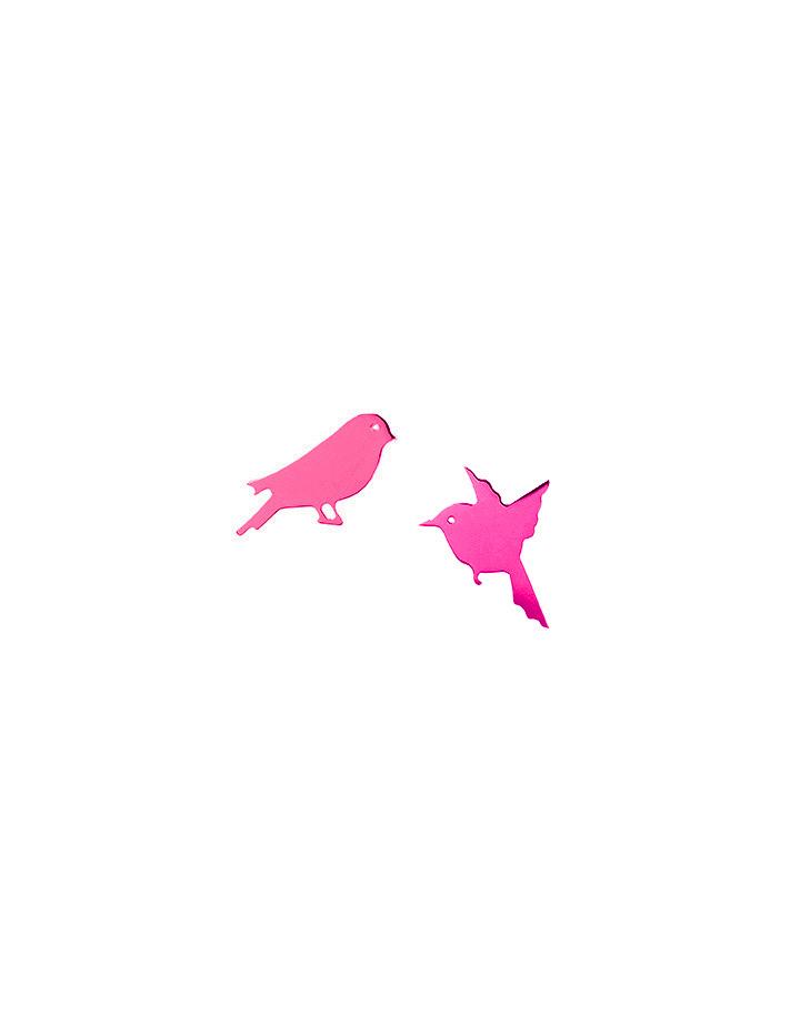 loroetu, orecchini fucsia con uccellini, fuchsia earrings with birds