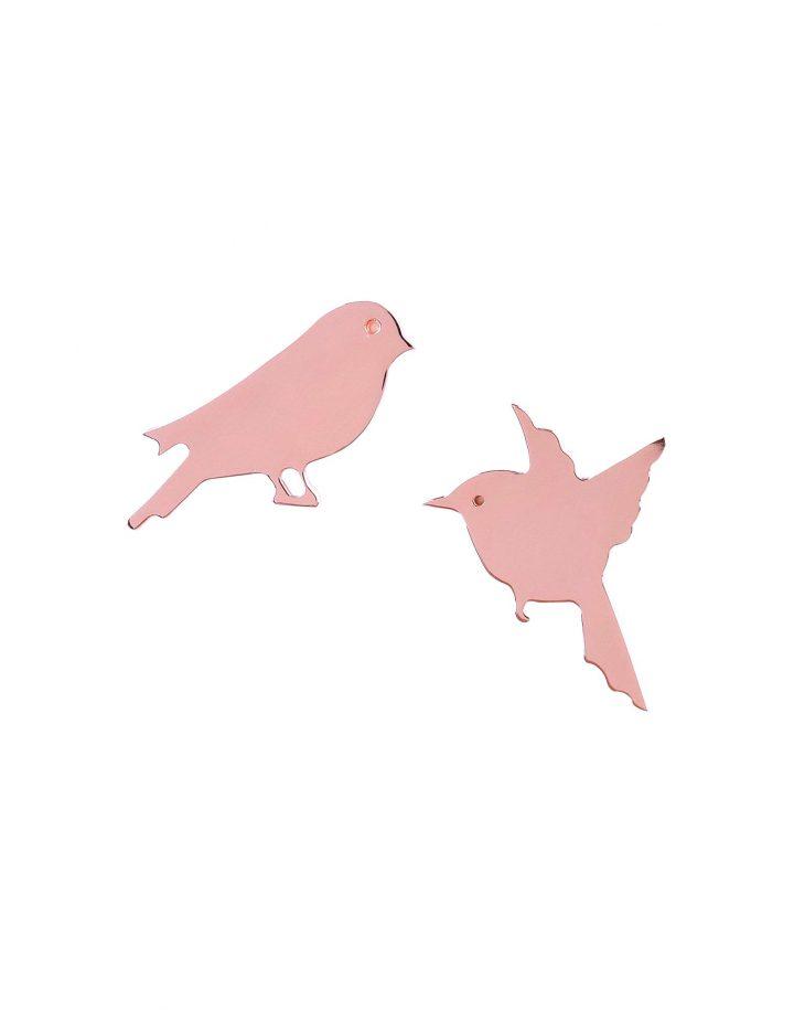 loroetu, orecchini con uccellini in oro rosa, rose gold earrings with birds