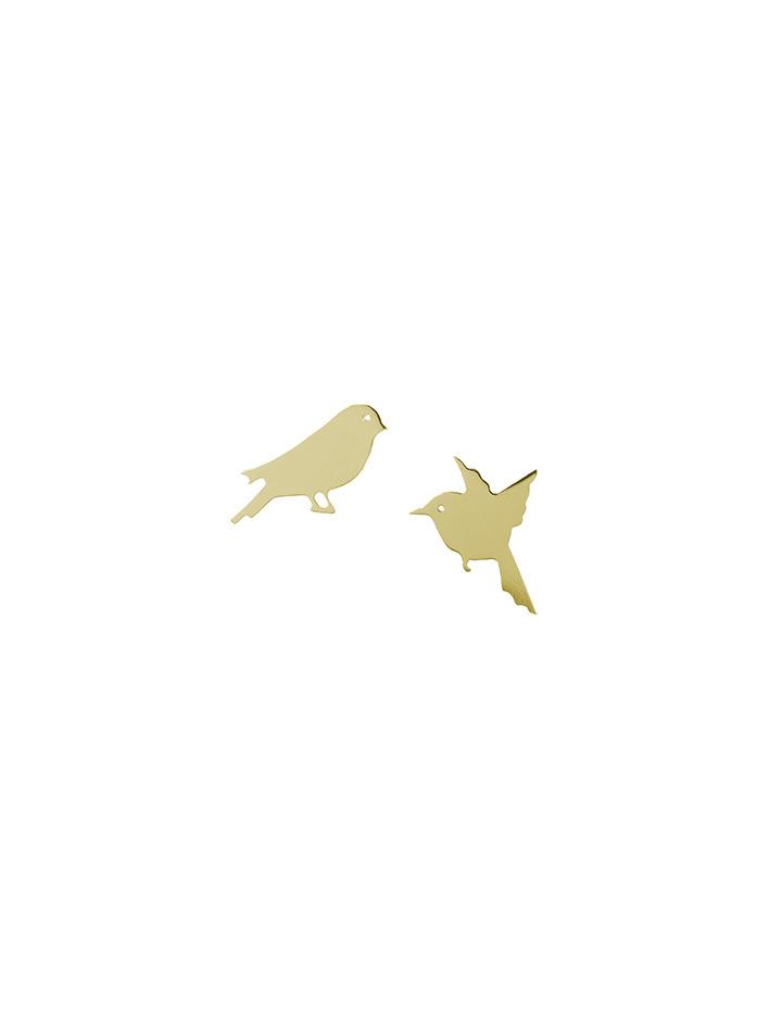 loroetu, orecchini oro giallo con uccellini, yellow gold earrings with birds