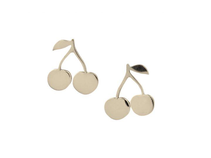 loroetu, orecchini lobo oro con ciliegie, gold lobe cherry earrings