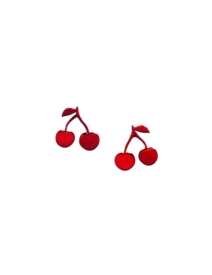 loroetu, orecchini lobo rossi con ciliegie, red lobe cherry earrings