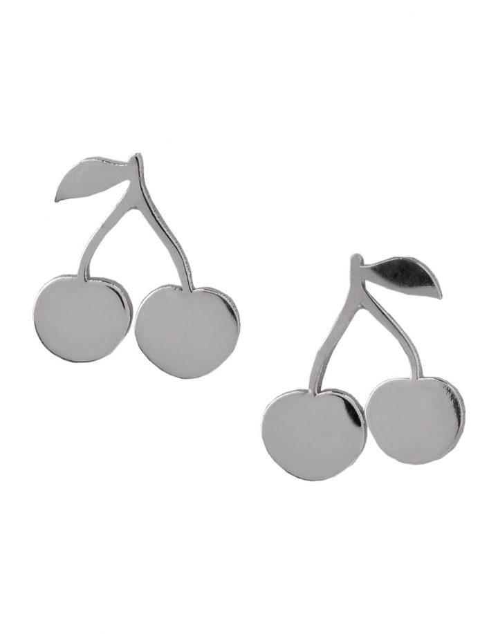 loroetu, orecchini lobo argento con ciliegie, silver lobe cherry earrings