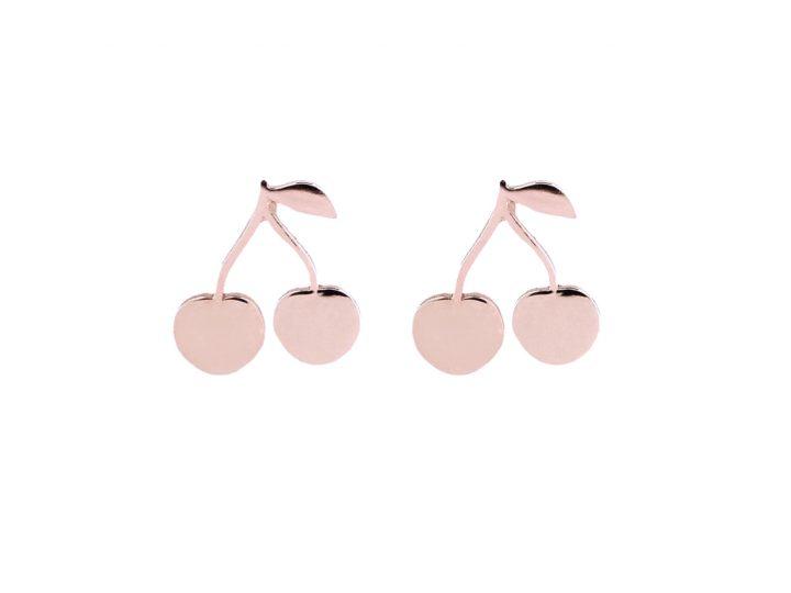 loroetu, orecchini lobo oro rosa con ciliegie, rose gold lobe cherry earrings