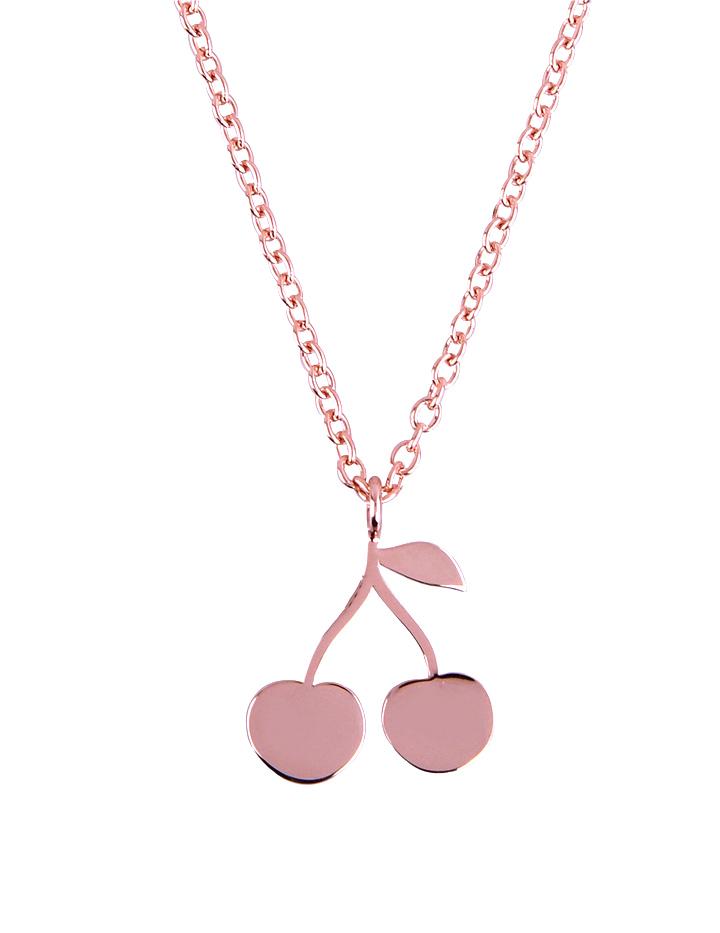 loroetu, collana oro rosa ciondolo ciliegie, rose gold necklace with cherries pendant