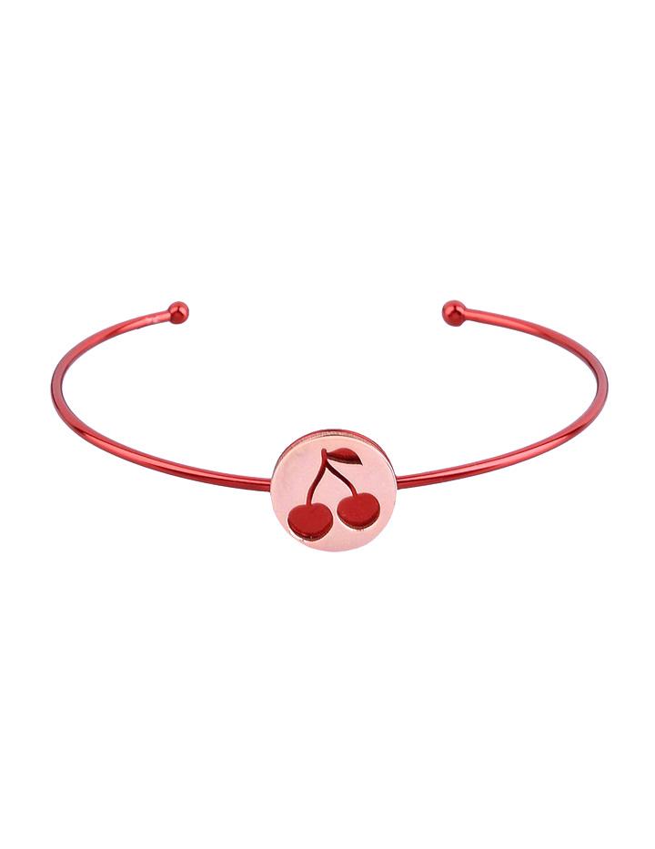 loroetu, bracciale rigido rosso e oro rosa con ciliegie, rose gold and red bangle with cherries