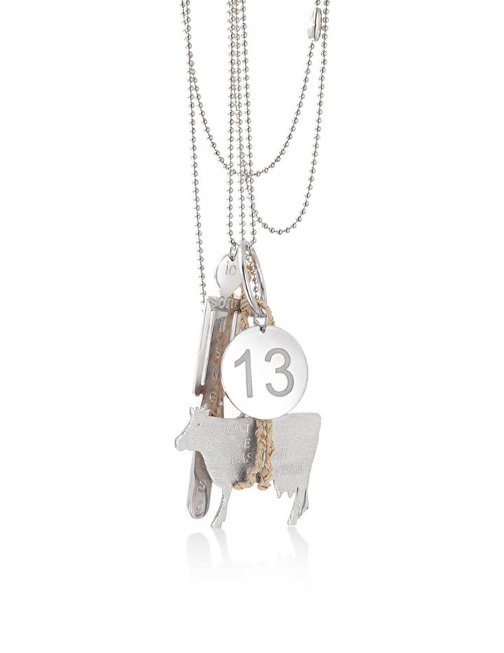 loroetu, collana argento personalizzabile con mucca donna/uomo e numero