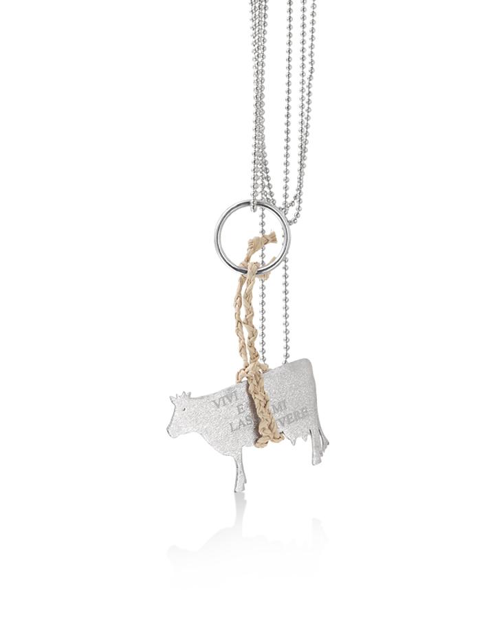 loroetu, collana argento con mucca e scritta, silver necklace with cow