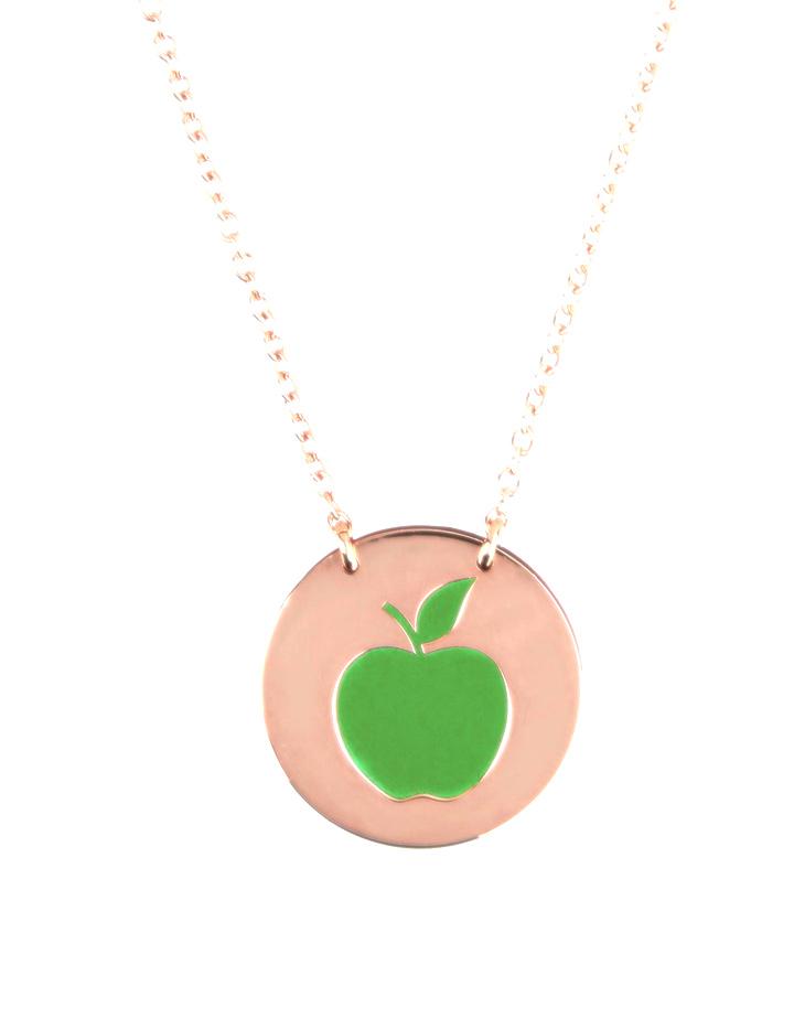 loroetu, collana oro rosa con mela verde, rose gold necklace with green apple pendant