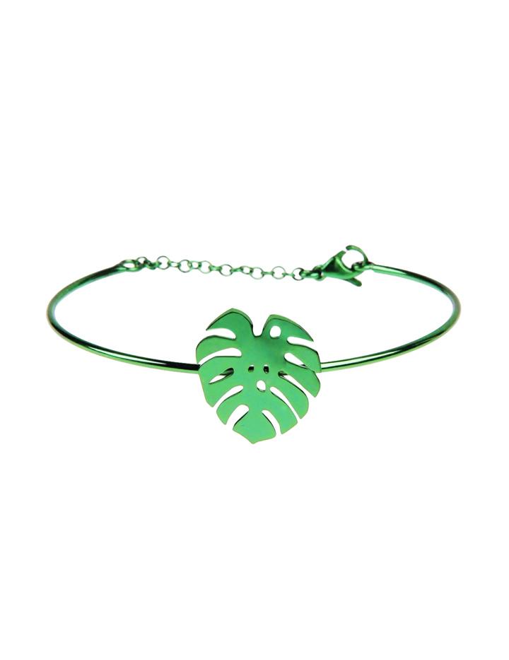 loroetu, bracciale rigido verde palma, green bangle with montera