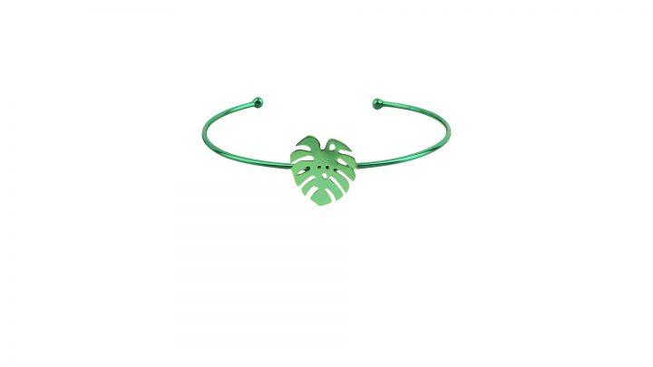 loroetu, bracciale rigido verde monstera, green monstera open bangle