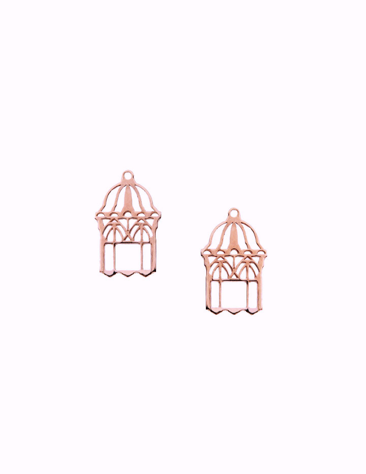 loroetu, mini orecchini lobo in oro rosa con gabbia aperta