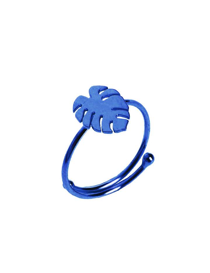 loroetu, anello monstera blu, blue monstera ring