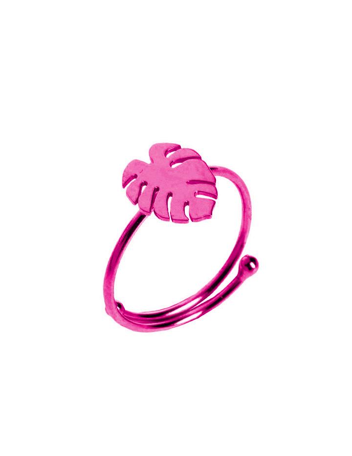 loroetu, anello monstera fucsia, fuchsia monstera ring