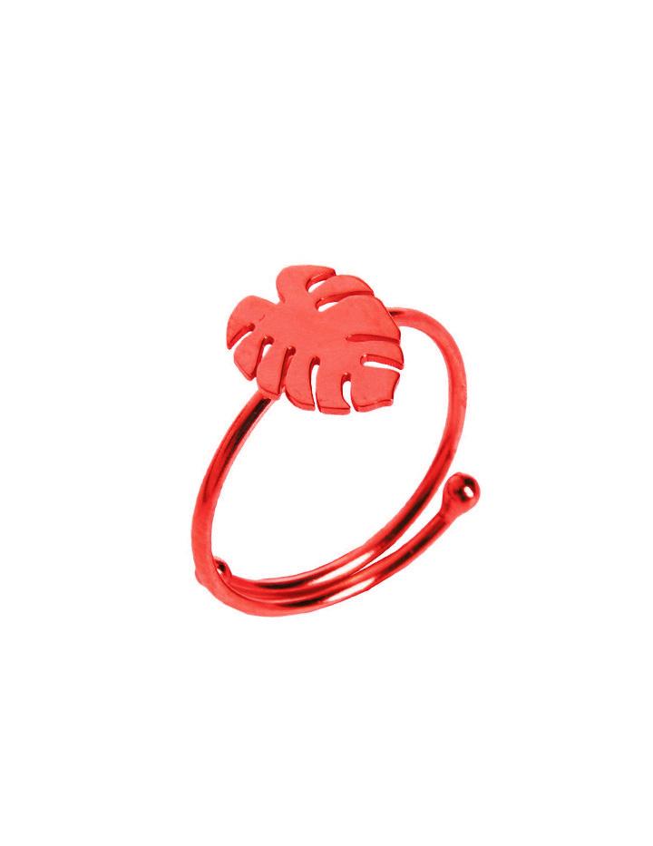 loroetu, anello monstera rosso, red monstera ring