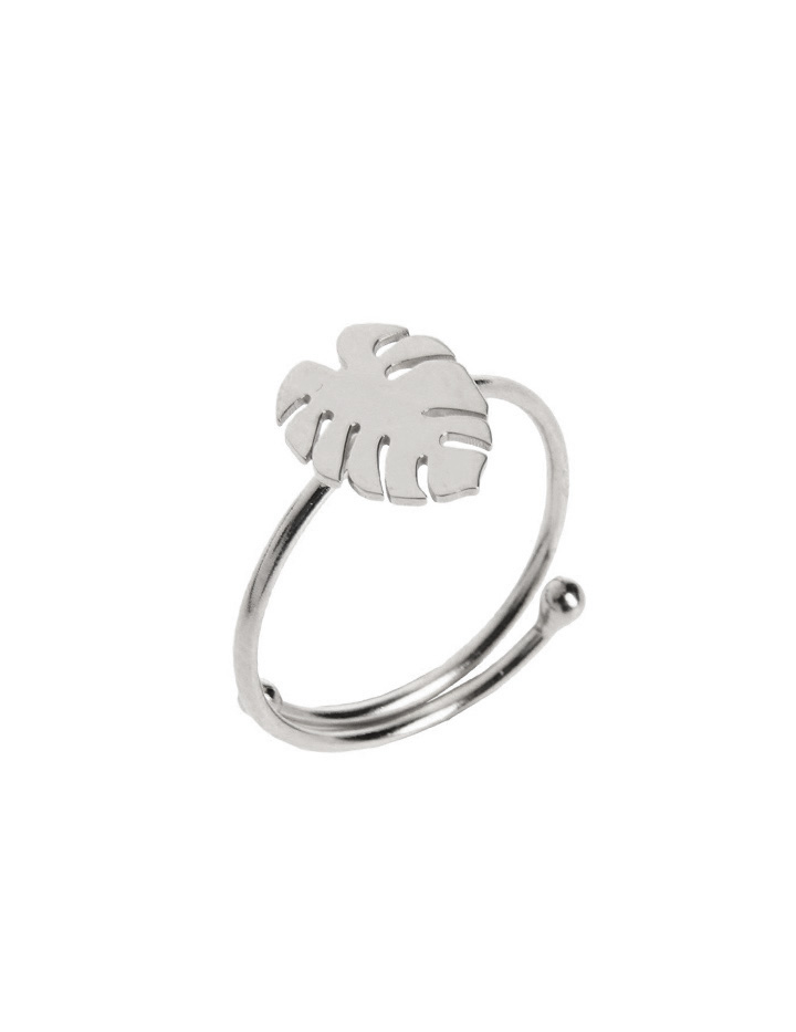 loroetu, anello monstera, argento, silvermonstera ring