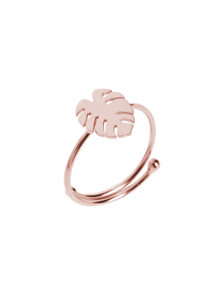 loroetu, anello monstera rose gold, monstera ring