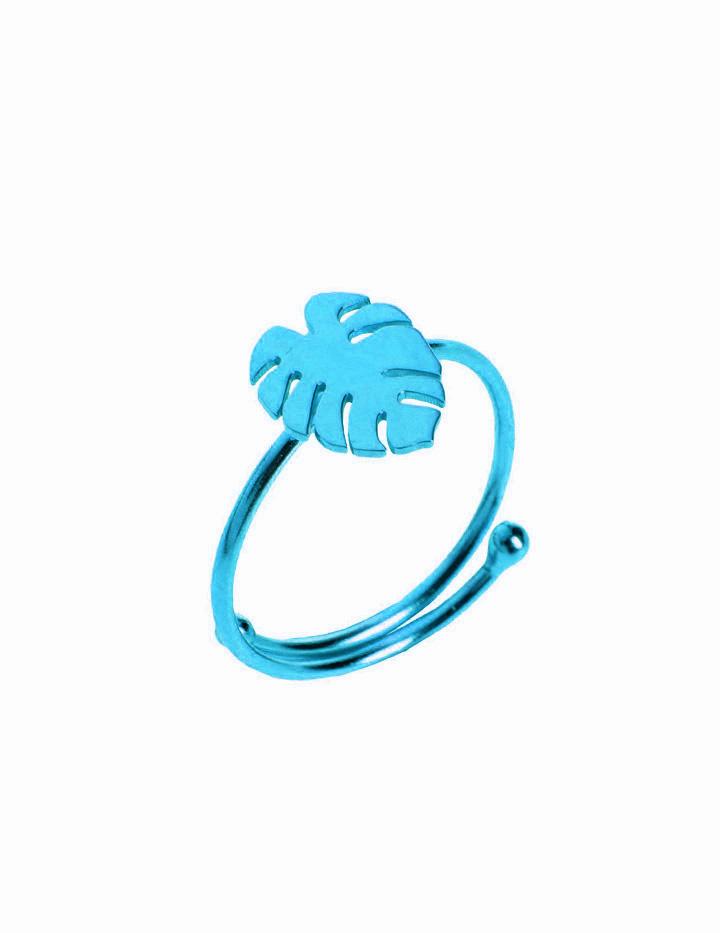 loroetu, anello monstera turchese, turquoise monstera ring