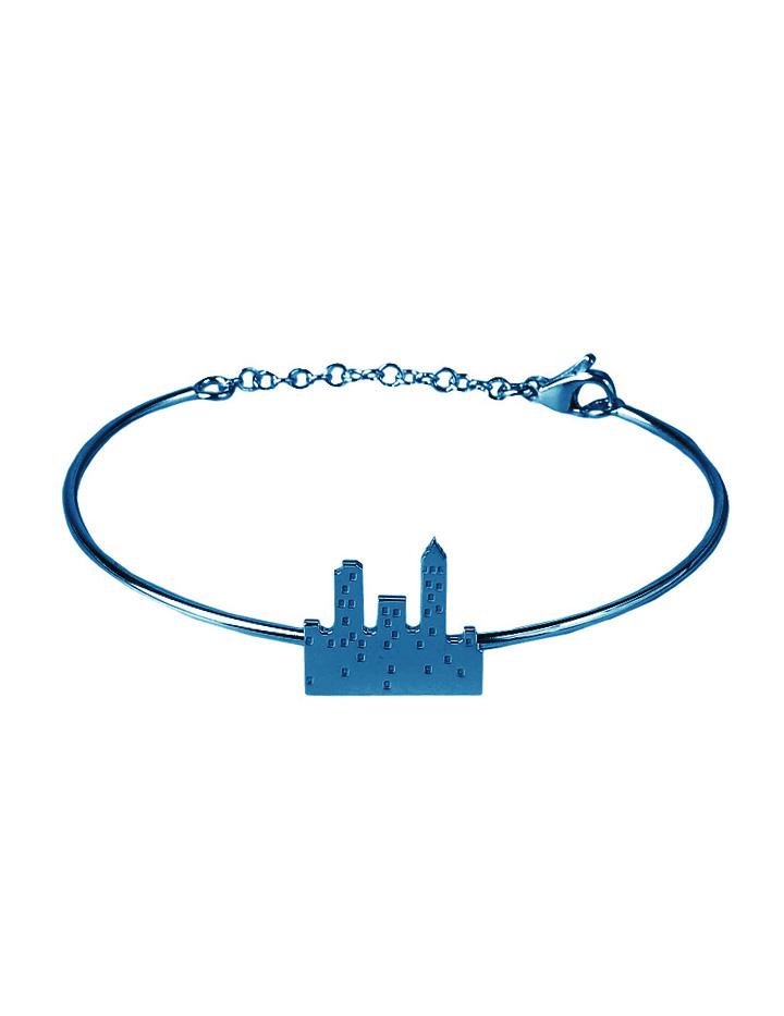 loroetu. bracciale rigido con skyline blu, blue skyline bangle