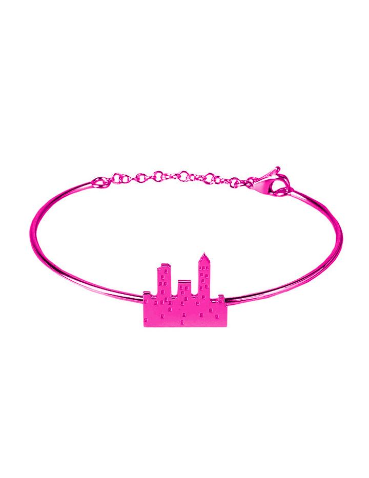 loroetu. bracciale rigido con skyline fucsia, fuchsia skyline bangle