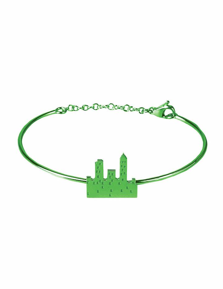 loroetu. bracciale rigido con skyline verde, green skyline bangle