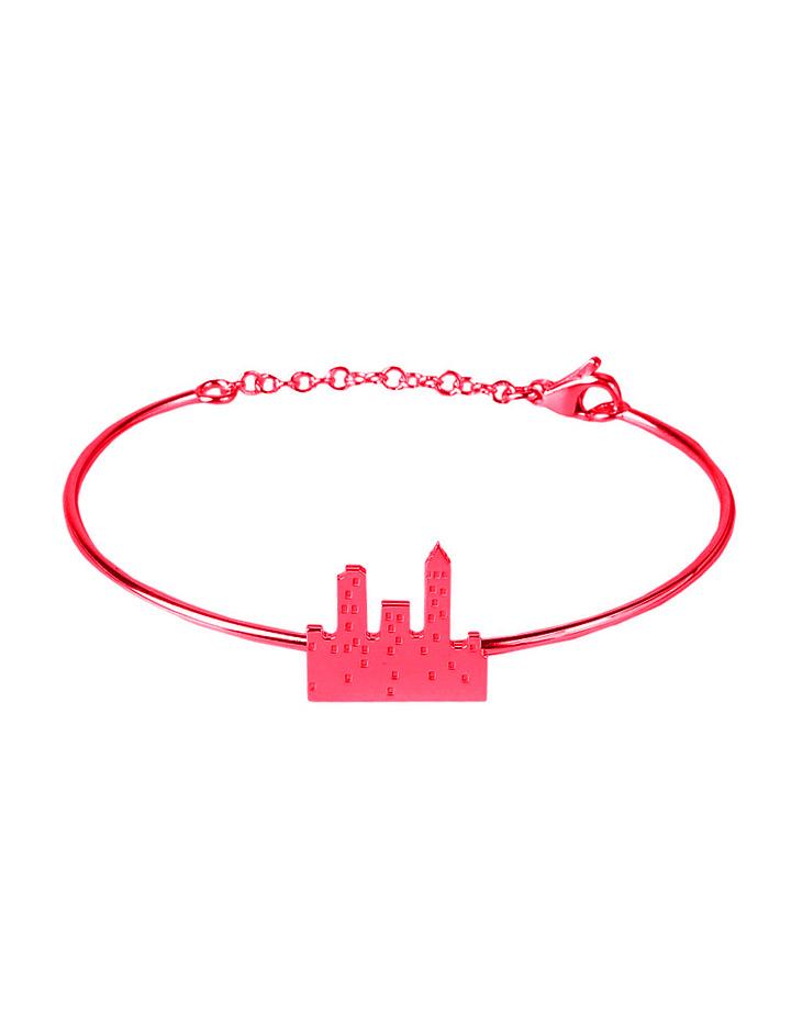 loroetu. bracciale rigido con skyline rosso, red skyline bangle