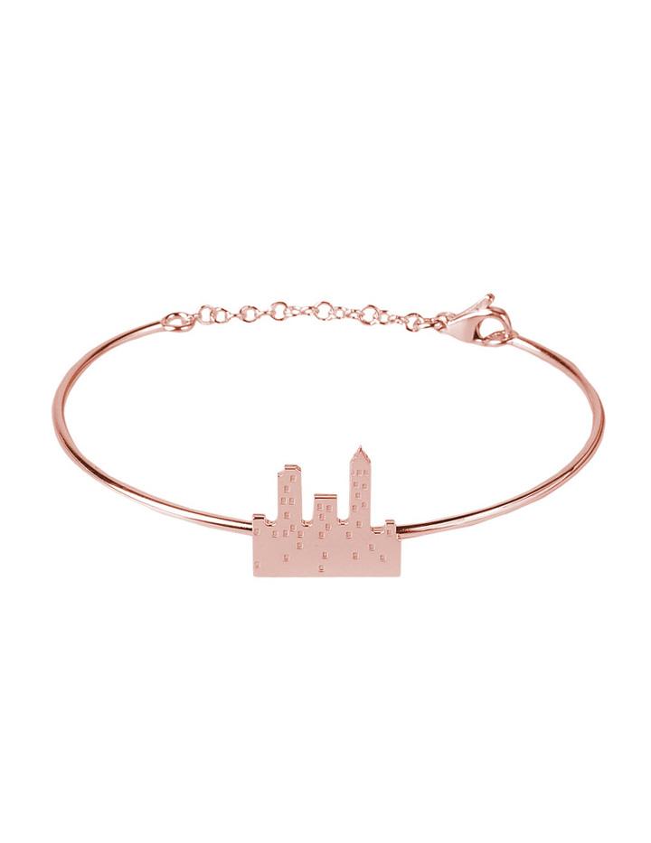 loroetu. bracciale rigido con skyline rose gold, rose goldskyline bangle