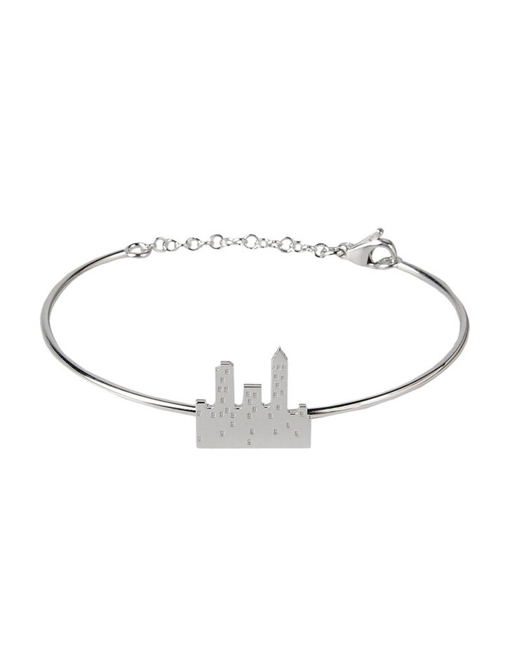 loroetu. bracciale rigido con skyline argento, silverskyline bangle