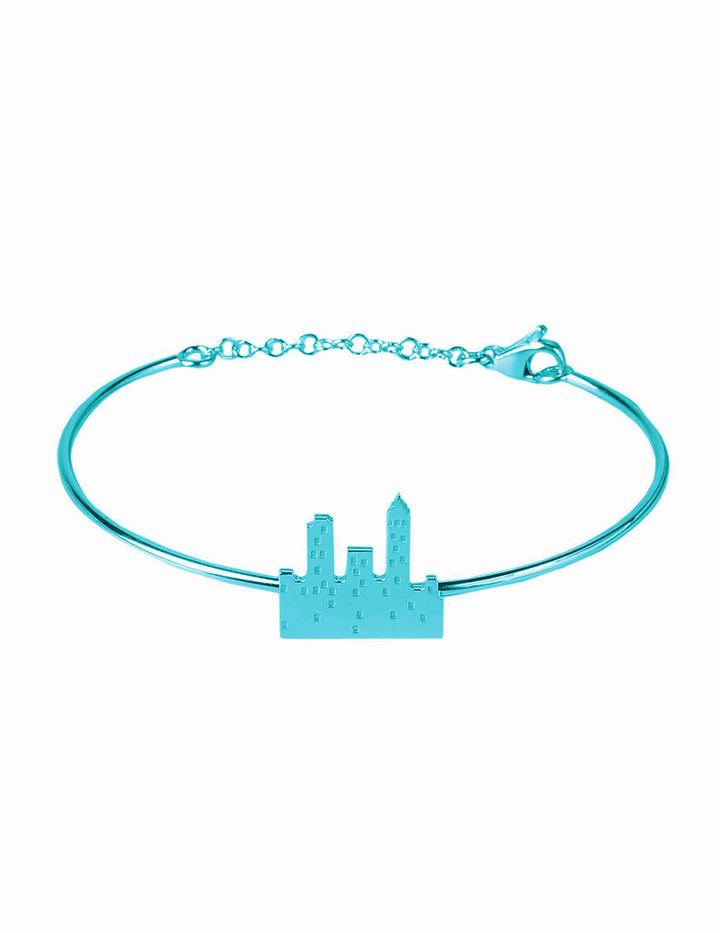 loroetu. bracciale rigido con skyline turchese, turquoise skyline bangle