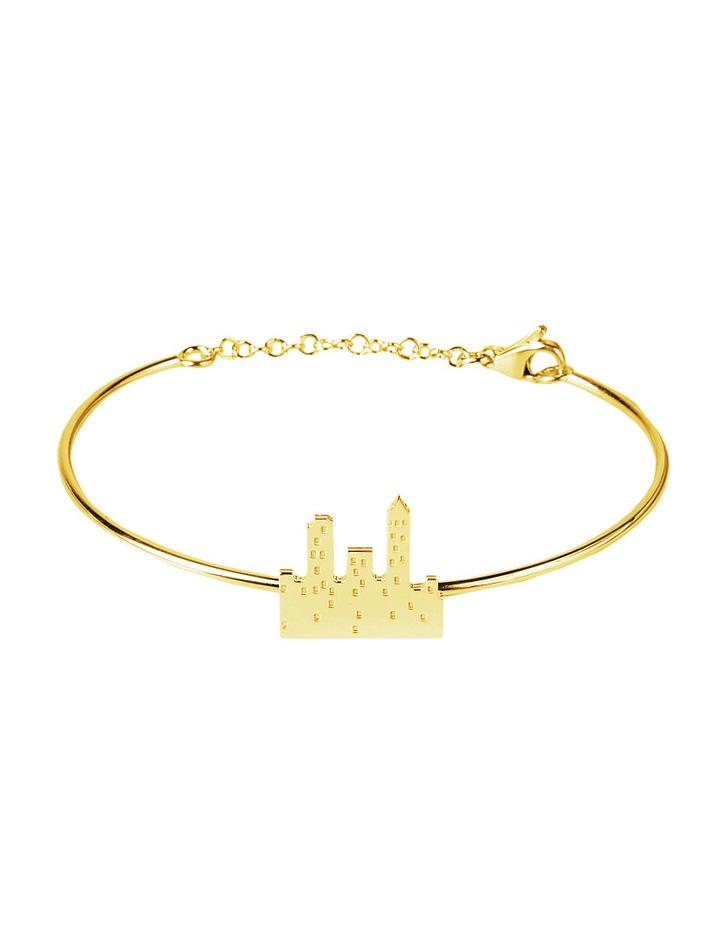 loroetu. bracciale rigido oro con skyline, gold skyline bangle