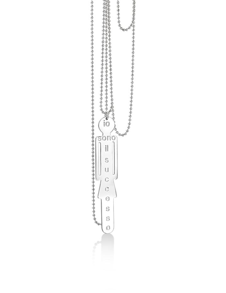 loroetu, collana argento con donna e scritta personalizzabile