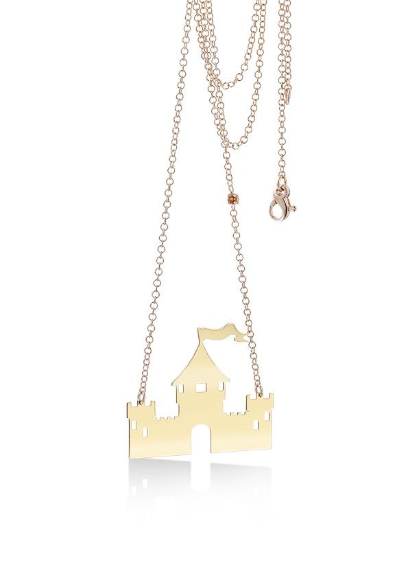 loroetu, gold plated castle necklace, collana oro con castello